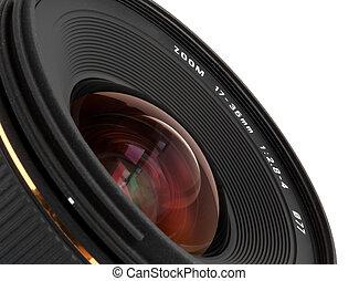 Closeup wide-angle lens for DSLR camera over white...