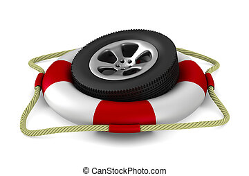 disk wheel into lifebuoy on white background. Isolated 3D...