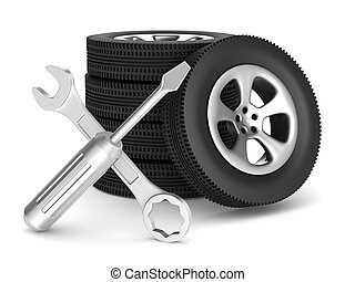 Car service on white background. Isolated 3D image