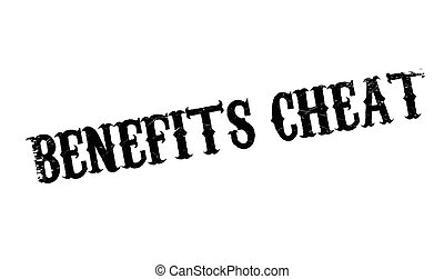 Benefits Cheat rubber stamp. Grunge design with dust...