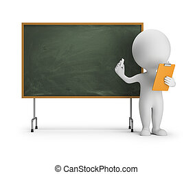 3d small people - blackboard - 3d small person standing next...