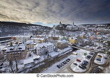 Schwarzenberg town from Ottenstein in winter - View to...