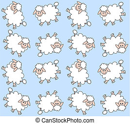 seamless lamb pattern with light blue background