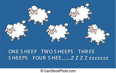 jumping sheeps - illustration of five jumping sheeps