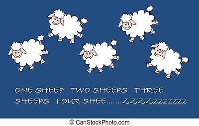 jumping sheeps - illustration of five jumping sheeps