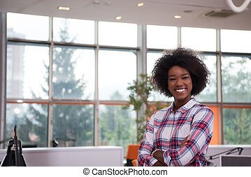 Portrait of a young black casual business woman - Portrait...