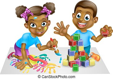 Boy and Girl Playing with Blocks and Paint