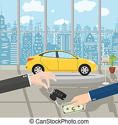 hand gives car keys to another hand. buy, rental or lease a...