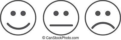 Clipart vecteur de neutre smiley n gatif positif emoticons smiley c - Smiley en noir et blanc ...