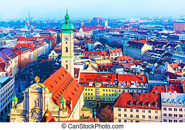 Munich, Germany - Scenic aerial panorama of the Old Town...
