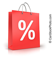 Red paper shopping bag with percent sign or symbol