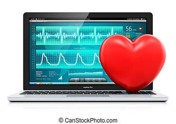 Laptop with medical diagnostic software and red heart shape