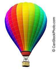 Color rainbow hot air balloon isolated on white background -...
