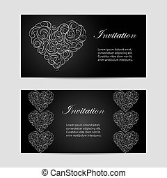 Set of horizontal banners . Beautiful swirl pattern in a...