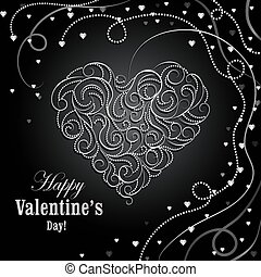 Happy Valentines day greeting card. Beautiful swirl pattern...