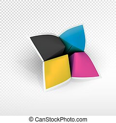 Fortune teller with CMYK colors. Poligraphy emblem for...