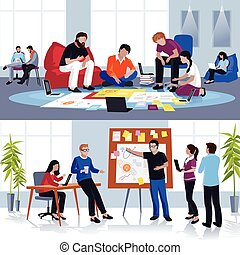 People Working In Team Flat Compositions - Coworking people...