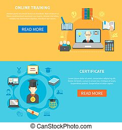 Online Training Banner Set - Two isolated horizontal online...