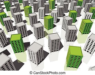 Green and grey buildings - green ecological apartment houses...