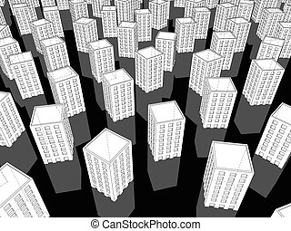 many white buildings - many white apartment buildings...