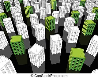 Green and white buildings - green ecological apartment...