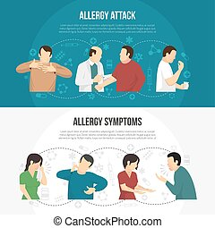 Allergy Banner Set - Two horizontal colored allergy banner...