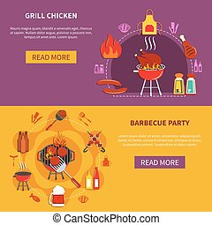 Grill Chiken On Barbecue Party Flat - Grill chiken and...
