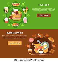 Fast Food Business Lunch Flat Banners - Fast food online...