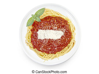 Dish of pasta with tomato sauce and parmesan cheese in the shape of Puerto Rico .(series)