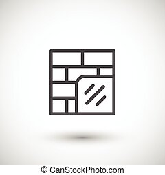 Wall insulation line icon isolated on grey. Vector...