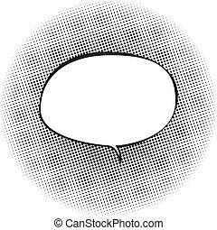 Speech Bubble on Pop Art Background - Oval Speech Bubble on...