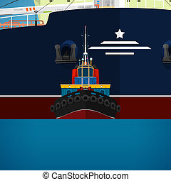 Tugboat Towing a Large Ship, a Front View of the Push Boats,...