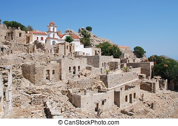 Mikro Chorio village, tilos - The ruins of the abandoned...