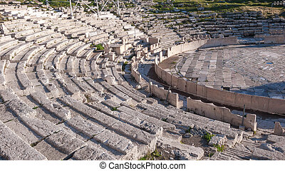 Remains of the Theatre of Dionysus in Acropolis of Athens,...