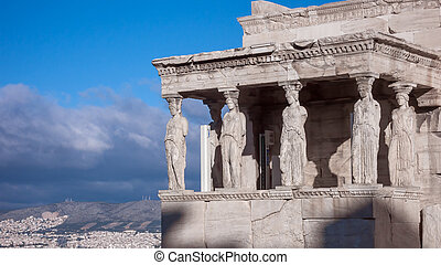The Porch of the Caryatids in The Erechtheion an ancient...