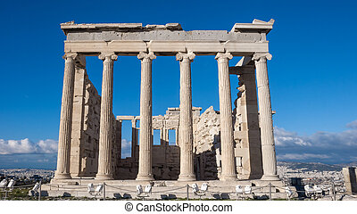 The Erechtheion an ancient Greek temple on the north side of...