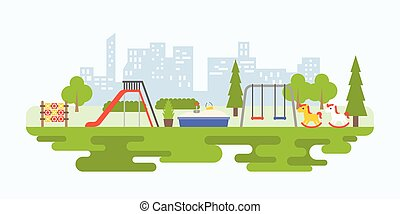 Info graphic and elements of playground equipment for...