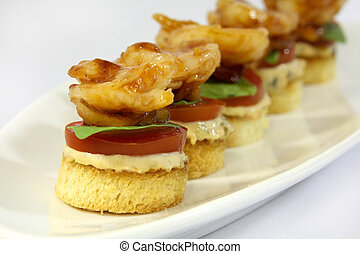 Shrimp Appetizer - A shrimp appetizer served with bacon...