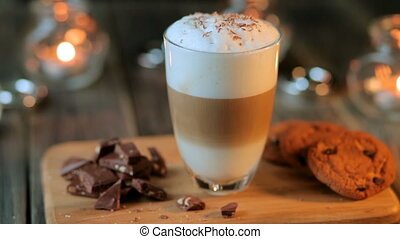Beautiful composition - hot coffe latte cappucino with...