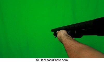 Pulling Out A Shotgun Targetting And Shooting - Shotgun...