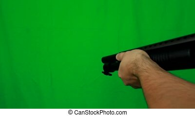 Shotgun Pull Out 2 - Green Screen - Pulling out a shotgun...
