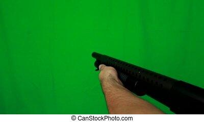 Shotgun Pulling Out Realoading And Shooting - Shotgun...