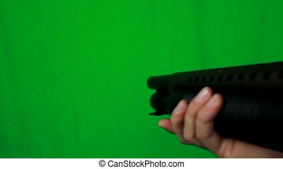Close Shotgun Pull Out 2 - Green Screen - Close scene with a...