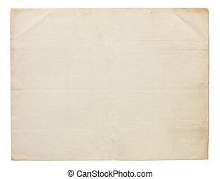 Very Old Blank Paper - Aged and worn paper with creases and...