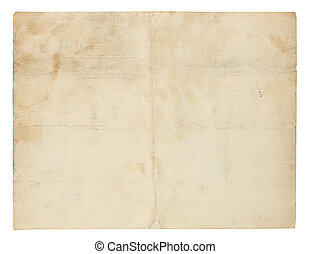 Very Old, Blank Yellowed Paper - Aged and worn paper with...