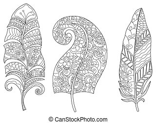three feathers coloring vector for adults - three feathers...
