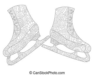 A pair of skates coloring vector for adults - A pair of...