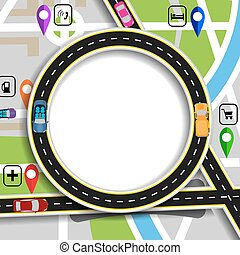 Road infographics. City Map with marks navigator. Highway,...