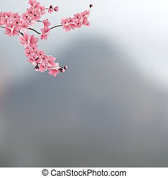 The branch with buds of pink cherry blossoms against a background of mountains. Landscape. illustration