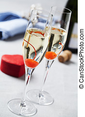 Sparkling wine - Two glasses of sparkling wine with...